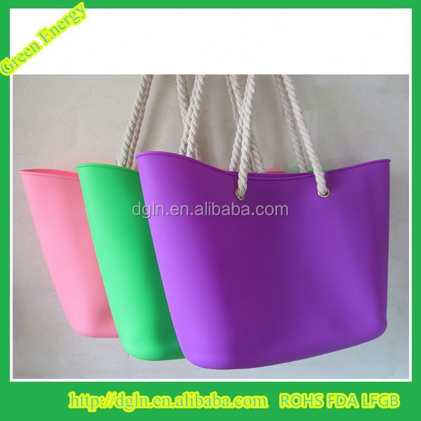 Fashion colorful good quality silicone travel cosmetic canvas beach bag