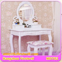 Chinese golden supplier wooden bedroom furniture dressing table set with stool