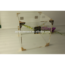 Square Clear Lucite Trunk --- Perfect for side table or storage