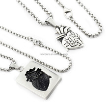 Anatomical Heart Necklace Set Titanium Plated Stainless Steel Couple Necklaces