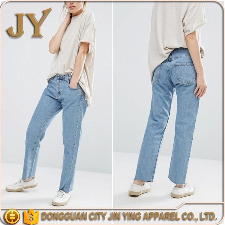 2016 Jeans Wholesale China Women Raw Hem Straight Leg Girl Jeans Pants Mid Blue Jeans Dongguan JY Apparel