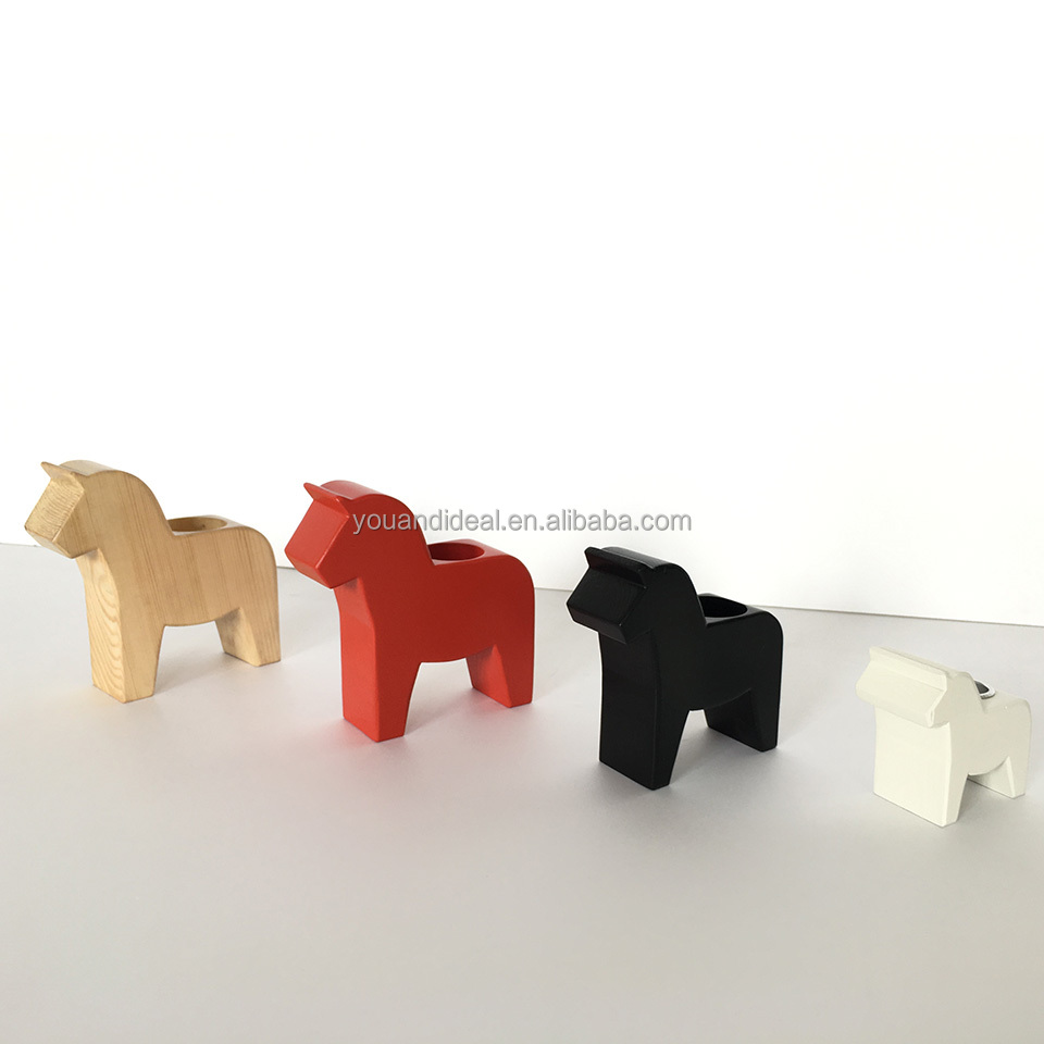 Custom home decoration wood dala horse holder