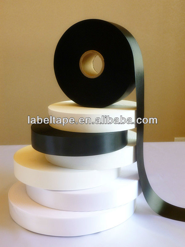 black polyester satin label ribbon