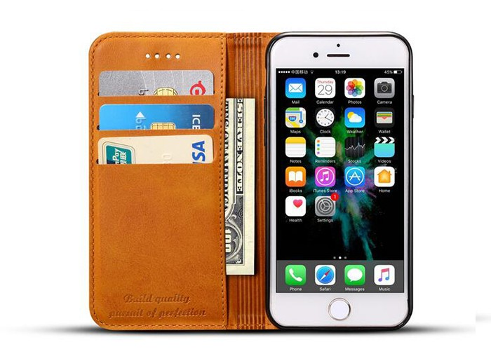 2017 Top selling card slots wallet leather cell phone case for iphone 8 / 8plus