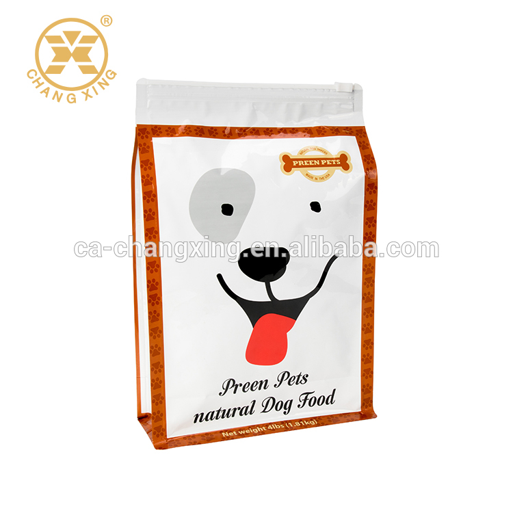 Reclosable Flat Bottom Dog Food Packaging Bag with Slider Zipper 5kg, 10kg, 15kg