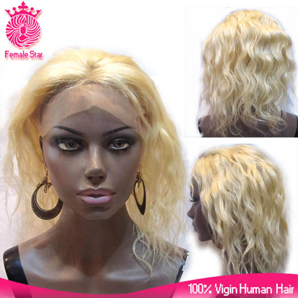 2017 Best Quality Blonde Brazilian Virgin Human Hair Full Lace Front Lace Wig 180% Density Baby Hair Blonde Wigs