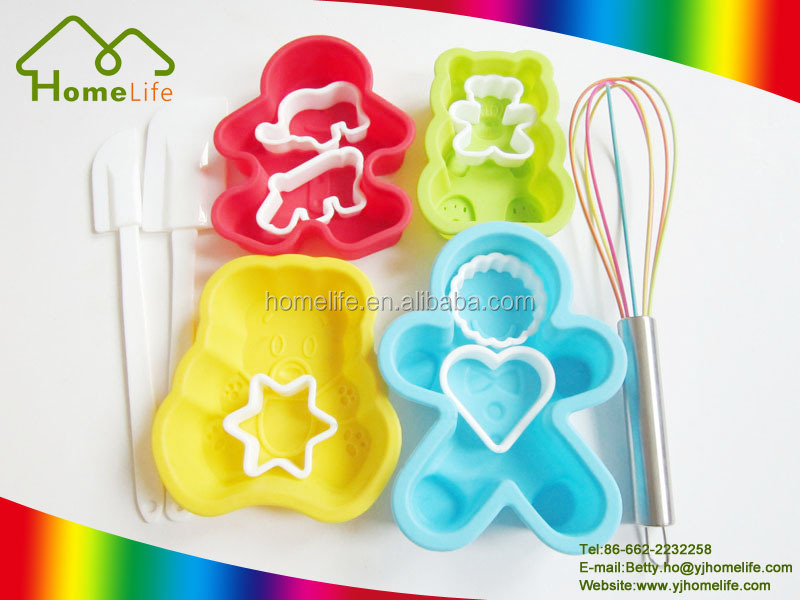 kitchen silicone cupcake cake pudding jelly bakeware tool set