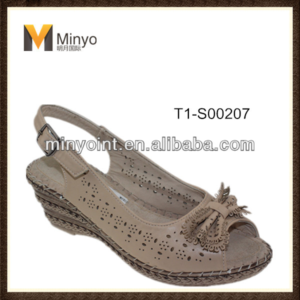 Minyo Cheap and comfortable wedge heel sandals ladies 2014