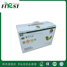 Super New Corrugated Carton Shipping Box with handles/Colored Printing Glossy Lamination Corrugated Cardboard Boxes for rice