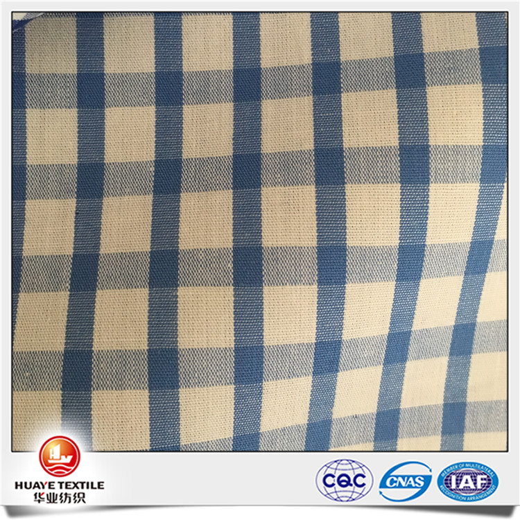 Yarn dyed beautiful 100 Cotton check plaid blue and white fabric for shirt