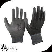 SRSAFETY black PU gloves palm fit/made in China/safety gloves
