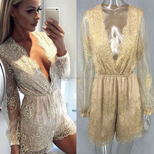 NS0419 women v neck fashion short sleeves jumpsuits hot transparent sequin jumpsuits