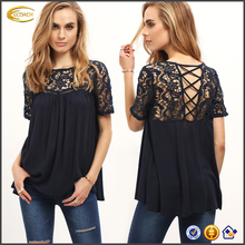 Ecoach lace patch work blouse designs royal blue 100%rayon criss cross back crochet blouse only ladies blouse design for lady