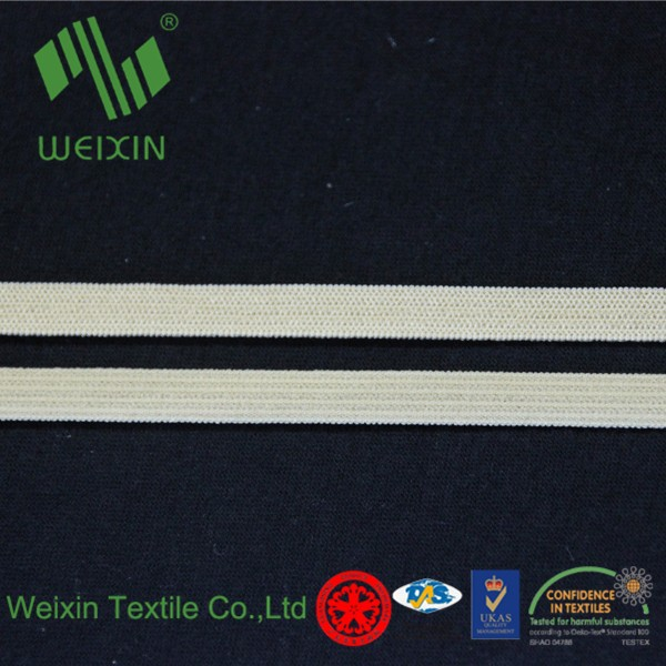 7mm wide nylon plain elastic band for swimwear/sports apparel/wash 'n' wear garments