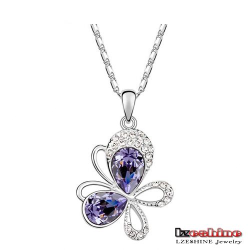 Platinum Plating Austrian Crystal Butterfly Necklaces Women Fashion Stone Necklaces 2016 4 Colors Option NL0075-Bmix