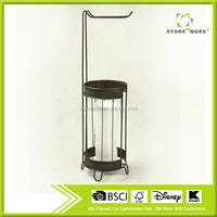 Round Rack, Standing Holder with One Hook, Bronze