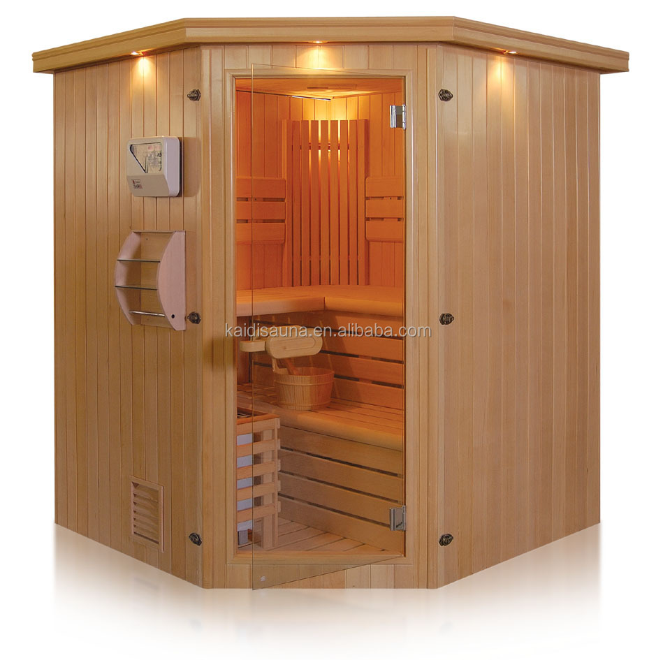 Traditional steam sauna cabin with stainless steel heater