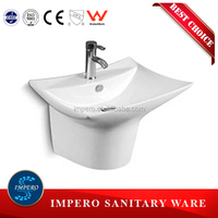 bathroom ceramic wall hung basin with half pedestal