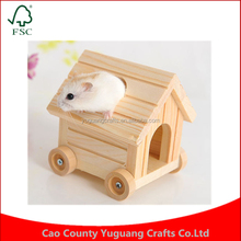 Custom natural wood 4 wheels car shape small hamster squirrel house Cages