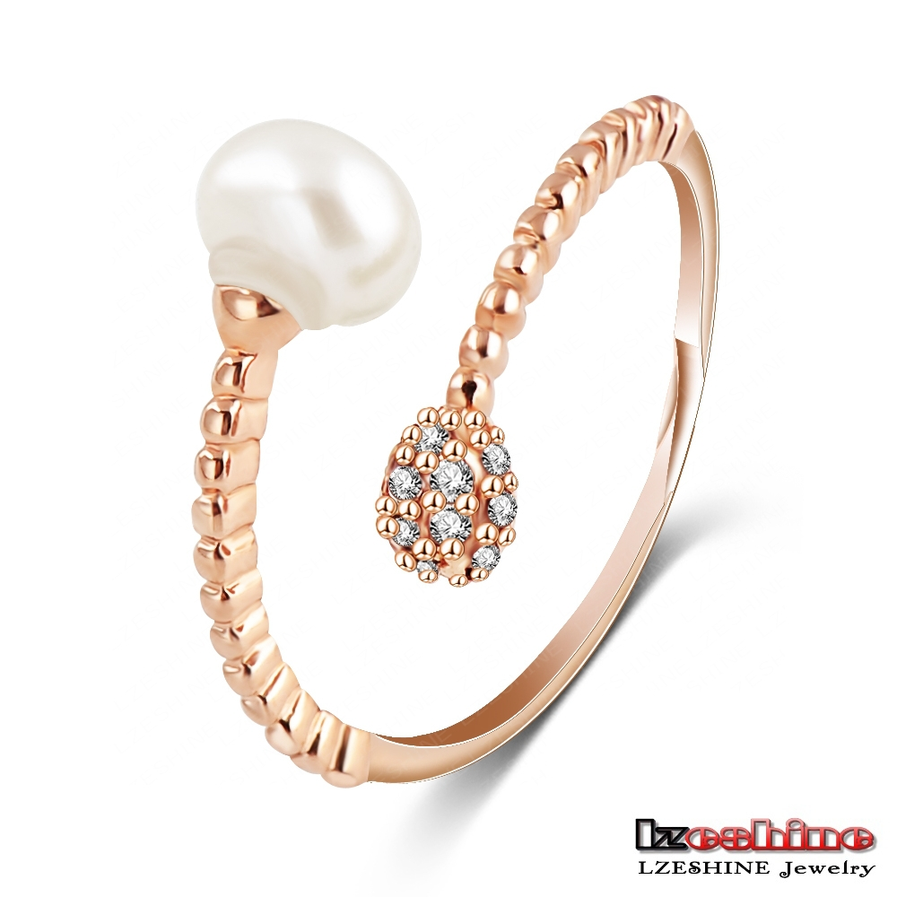Fancy Gold Plated Copper Ring With Pearl Designs Wholesale Cheap CRI0191-A