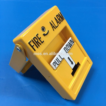 Yellow Indoor Addressable Non Coded Manual Release Dual Action Fire Emergency Alarm Pull Station with Break Glass Cover testing