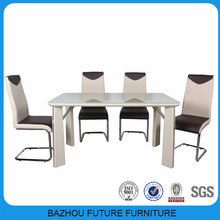 2014 hot sale glass top wooden dining table and dining chair