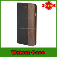 "new arrival wooden case walnut wood leather mobile phone case for iphone 6 4.7"" alibaba china"