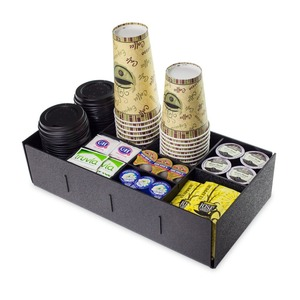 Black Acrylic Coffee Cup and Condiment Holder Perspex Cup Caddy Organizer