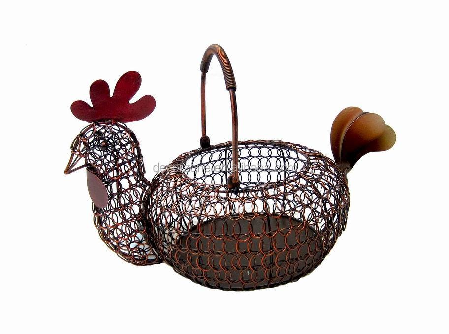 Rooster shape metal wire basket with handle