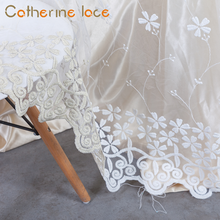 Catherine Zhejiang Embroidery Sheer Lace White Voile Curtain For Windows