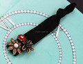 H794-129 can be also bracelet beautiful elastic fabric pearl and rhinestone antique gold hair tie