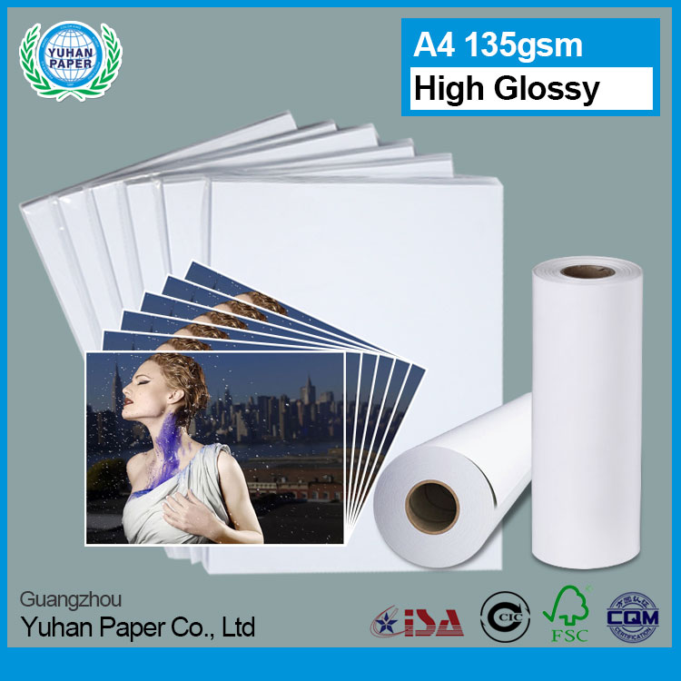 New arrival wholesale 135g A4 size rolls waterproof smooth glossy inkjet photo paper