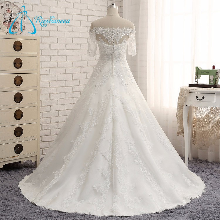 2017 Sequined Lace Appliques Alibaba Wedding Dress