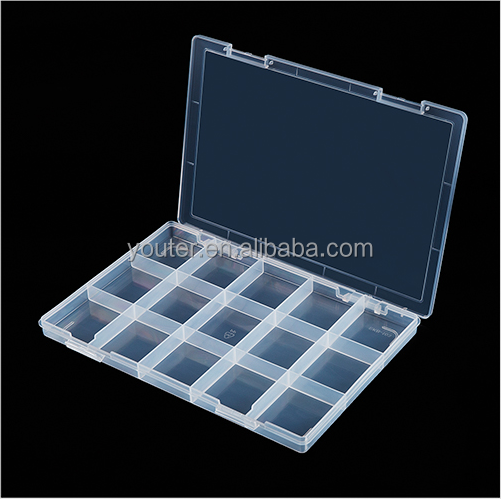 Plastic transparent grid slot compartment divided storage for small parts components accessories