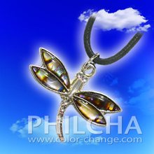 Paua Shell Jewelry Dragonfly Pendant Necklace