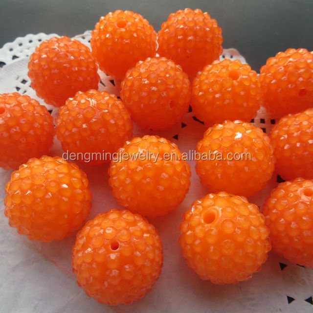 Halloween orange resin rhinestone Beads ,Round Paster chunky Beads,wholesale 20mm/22mm for kids Necklace Jewelry
