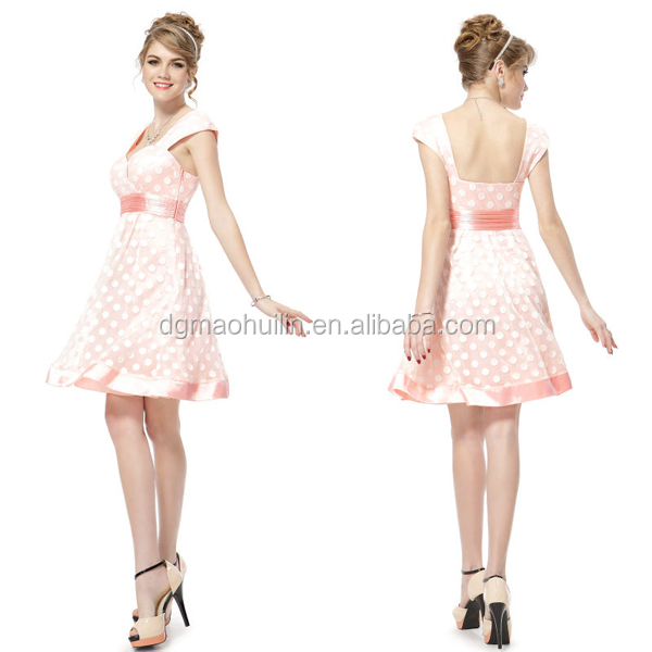 Elegant White Dot Cap Sleeve Women Clothing Pink Short Party Dress