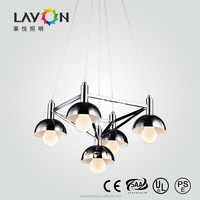 clear color and glass+iron material glass ball pendant lamp