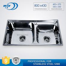 One Piece Double Bowl With Tray Stainless Steel Kitchen Sink