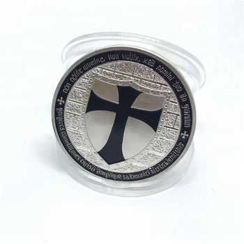 Custom Silver German knight cross challenge coins black for collectible