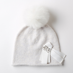 Latest Design Rhinestone Winter Baby Girl Knitted Bow Hat With Pom Bow