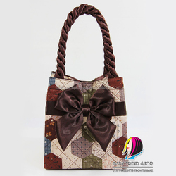 Handbags : Autumn Vintage Ladies Handbags (Fold Side) With Front Ribbon And Twisted Fabric Handle , Tote Bag , Cloth Purses