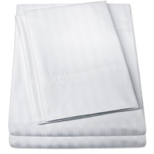 Wholesale Hotel Quality 100% Cotton White Top Stripped Bed Sheet Single Size