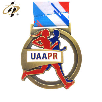 Die cut zinc alloy custom antique gold 3D marathon finished sports medal