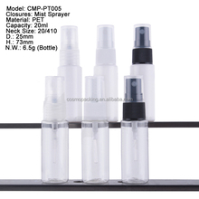 Clear 20ml Plastic PET Bottle with Cream pump and dust cap for cosmetic