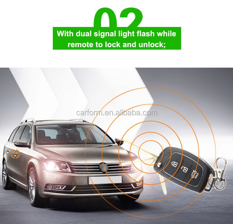 2016 universal one-way car alarm with long distance Universal keyless entry system CF906 with ACC output and side door output