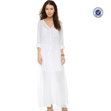 Button closures at front white long sleeve big collar crinkled gauze maxi shirts dress