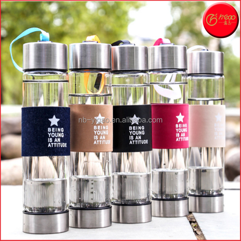 YG17300 Hot Sale Glass flip top tea water bottle with filter