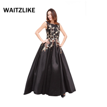 China factory Handmade embroidered flower black open back satin evening dress ball gowns