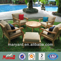 Garden furniture teak wood tea table and chair set with stool